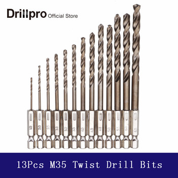 Drillpro 13Pcs 1.5 mm-6.5 mm M35 Kobalta Urbis HSS-Co Vērpjot Urbju Komplekts 1/4 Collas Hex Kāta